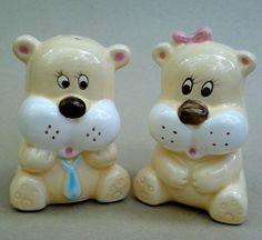 Vintage Salt & Pepper Figural Lion Dog Bear Shaker Set...