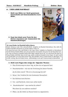 B1 Training Mündliche Prüfung DER LIEBE HAUSHALT