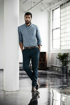 Office Style (Him): A fantastic color palette for a business casual look for men. Button downs, leather built and slacks.