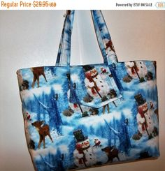 On Sale Purse Winter Snowman Snowmen Blue XL by Gingerbread123