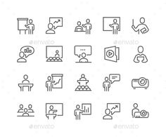 Line Business Presentation Icons