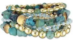 Yellow Gold Plated and Faux Turquoise Beaded Stretch Bracelets - Set of 9. by abigail
