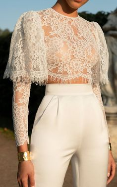 Casual Sexy Hollow Out Perspective Short Style Lace T Shirt - moda Look Fashion, High Fashion, Womens Fashion, Fashion Design, Fashion Art, Trendy Fashion, Fashion Ideas, Classy Fashion, Cheap Fashion