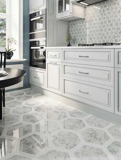 Minimalist Kitchen Tiles, Grey Wall Tiles, Grey Kitchen Designs, Marble Mosaic, Carrara Marble, Gray Interior, Interior Ideas, Modern Farmhouse Bathroom, Hexagon Tiles