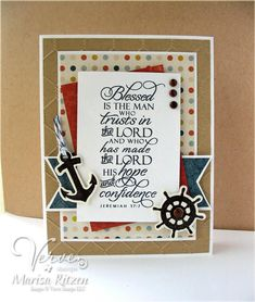 Love Verve Stamps' Strong Anchor set and this fabulous sentiment - perfect for masculine cards. Christian Birthday Cards, Christian Cards, Birthday Cards For Men, Handmade Birthday Cards, Verses For Cards, Scripture Cards, Bible Verses, Masculine Birthday Cards, Masculine Cards