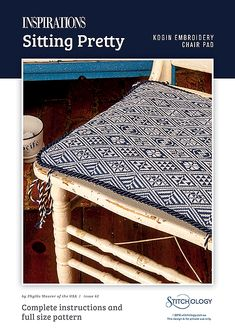 The appealing marriage of indigo and white has a long and enduring history in Japanese textiles. Kogin embroidery is a variation of Sashiko and was traditionally worked using this classic colour scheme of white thread on blue cloth. Employing one of the simplest embroidery stitches on even weave fabric, a myriad of patterns can be created by varying the length of running stitches. This chair pad or cushion showcases numerous geometric designs and is neatly finished with a twisted cord…