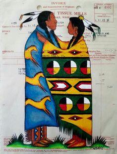 Ledger Art painting by Gordon Henry Native American Paintings, Native American Quotes, Native American Artists, Native American Indians, Southwest Art, American Indian Art, Indigenous Art, Aboriginal Art, People Art