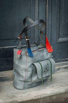 Gray Oversized Leather Bag handmade by ladybuq on Etsy