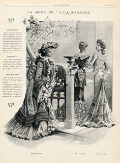 Art Nouveau Fashion 1901 Evening Dresses Archive documents French Clippings | Hprints.com