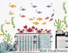 Nursery Wall Decal - Fish Wall Decal - Crab Wall Decal.  Etsy, $50