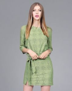 #VIPme Auqamarin Cut Out Lace Half Sleeve Sheath Dress ❤ Get more outfit ideas and style inspiration from fashion designers at VIPme.com.