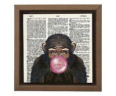 Gravura Digital Macaco Mudo - 26x26cm