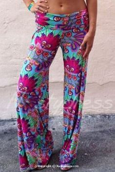 Gorgeous Colors! Chic and Comfy Elastic Waist Loose-Fitting Printed Women's Beach Pants