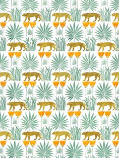 Lioness and Palms Voysey Wallpaper in Midday Palm Wallpaper, Fabric Wallpaper, Quirky Wallpaper, Iphone Wallpaper, Interior Inspiration, Design Inspiration, Bathroom Inspiration, South Carolina Homes, Common Room