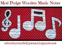 Fun and easy kids craft with wooden music note cutouts  Adventures of a DIY Mom - Mod Podge Wooden Music Notes Decor