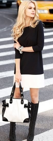 classy black and white - you can't go wrong, but I would change the purse