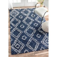 nuLOOM Alexa My Soft and Plush Moroccan Diamond Blue Easy Shag Rug (4' x 6') - Free Shipping Today - Overstock.com - 17842329 - Mobile