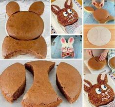 Bunny cake, you make 2 round cakes and one you cut like shown for the 2 ears and bow tie. decorate any way you want