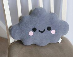 Grey Cloud Pillow, Cute Pillow, Kawaii
