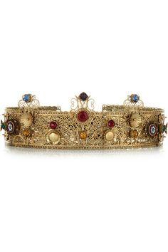 DOLCE GABBANA Gold-plated Swarovski crystal crown