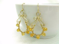 Citrine Wire Wrapped Earrings Hammered