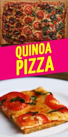 15 PortionenZUTATEN425 g Quinoa, ungekocht600 ml Wasser, aufgeteilt, und mehr zum Einweichen der Quinoa1 Esslöffel Backpulver1 Esslöffel Knoblauchpulver2 Teelöffel Salz30 g geriebener Parmesankäse Antihaftspray für Backformen260 g Pizzasauce200 g geriebener MozzarellakäseBeliebiger Belag Roma-Tomaten, in Scheiben Frische Basilikumblätter Pfeffersalami Zwiebel, in Scheiben Rote Paprika, gehackt Spinat Pilze, in Scheiben