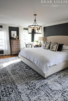 We finally found a large rug that worked in our master bedroom and are loving it! It's from and I love the… bedroom decor 40 Dreamy Master Bedroom Ideas and Designs — RenoGuide - Australian Renovation Ideas and Inspiration Master Bedroom Design, Dream Bedroom, Home Bedroom, Bedroom Furniture, Bedroom Designs, Bedroom Rugs, Girls Bedroom, Dark Master Bedroom, Modern Bedroom