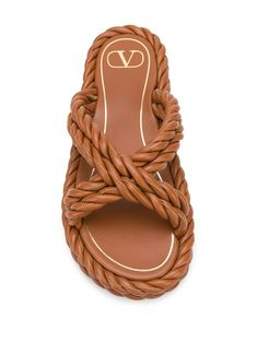 Valentino Valentino Garavani The Rope Flat Sandals - Farfetch Rope Sandals, Flat Sandals, Fashion Flats, Valentino Garavani, Office Wear, Brown Leather, Women Wear, Slip On, Fashion Design