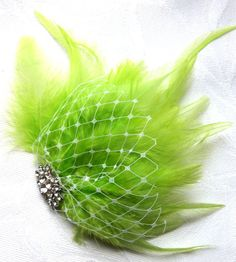 Wedding hair fascinator lime green by ChurchMouseCreations on Etsy, $17.50