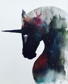 Dark Unicorn full of infinite space by Lora Zombie