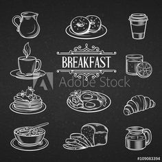 Find Decorative Hand Drawn Icons Breakfast Foods stock images in HD and millions of other royalty-free stock photos, illustrations and vectors in the Shutterstock collection. Chalkboard Doodles, Blackboard Art, Chalkboard Writing, Chalkboard Lettering, Chalkboard Designs, Menu Boards, Cafe Interior Design, Menu Design, Chalk Art