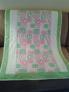 Hot Pink and Lime  pieced crib  baby quilt handmade by Pinkladycottage on Etsy