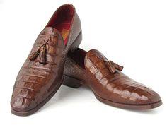 454c5058894 Paul Parkman Handmade Men s Crocodile Embossed Calfskin Leather Tassel  Loafer Shoes Brown Leather Men
