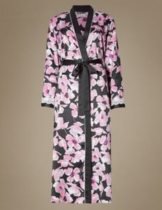 Buy the Satin Floral Belted Wrap from Marks and Spencer's range. Nightwear, Kimono Top, Satin, Floral, Stuff To Buy, Beauty, Shopping, Clothes, Lingerie Sets