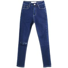 LUCLUC Darkwash Blue Skinny High Rise Jeans (100 BRL) ❤ liked on Polyvore featuring jeans, pants, bottoms, lucluc, blue jeans, super high-waisted skinny jeans, high-waisted jeans, high-waisted skinny jeans and highwaist jeans