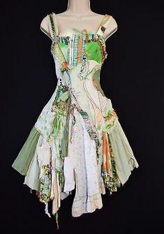 ba1e702ebd Art to Wear! Ragged Patchwork Rave Pixi Mori Girl Dress Hippy Psych  Festival 10