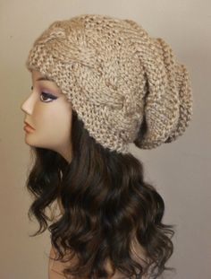 Slouchy Hat Cabled Slouchy Beanie Women Hat by BoPeepsBonnets, $48.00