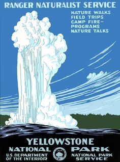 Old Faithful erupts in this circa 1938 National Park Service silkscreen for Yellowstone National Park.