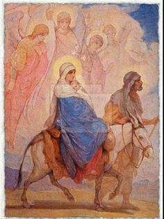 Nikolay Andreyevich Koshelev, Flight Into Egypt. Love the visual of the angels keeping the Holy Family safe. Catholic Art, Religious Art, Flights To Egypt, Religion Catolica, Mama Mary, Jesus Art, Blessed Mother Mary, Biblical Art, Madonna And Child