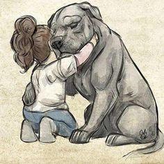Little girl hugging her #dog. ❤️