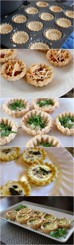 Homemade Mini Quiche Appetizers Perfect for a tea Party Bite Size Appetizers, Yummy Appetizers, Appetizers For Party, Appetizer Recipes, Mini Quiches, Savoury Baking, Veggie Side Dishes, Appetisers, Kos