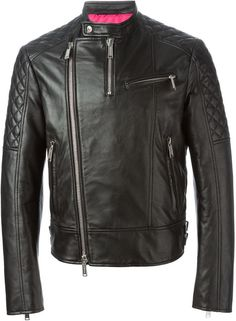 $1,131, Black Quilted Leather Biker Jacket: DSQUARED2 Biker Jacket. Sold by farfetch.com. Click for more info: https://lookastic.com/men/shop_items/236412/redirect