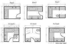 A partir de cette taille il est possible de jouer avec les diffèrents éléments, créer des différences de niveau dans le sol. C'est aussi l'occasion de perder de l'espace par pure luxe (et c'est bien le comble du luxe, surtout en ville) installer une très grande douche, une très grande