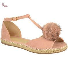 Sandales plates - style espadrilles/à pompon/bride cheville - femme - Faux suède rose pastel/corde - EUR 38 - Chaussures fashion thirsty (*Partner-Link)