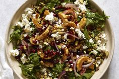 This salad has all the roasted delicata squash tons of peppery arugula some salty cheese pistachios to give it some crunch and more! Healthy Salad Recipes, Vegetarian Recipes, Fun Recipes, Whats Gaby Cooking, Squash Salad, Sweet Potato Chili, Easy Eat, Appetizer Salads, Vegetable Dishes