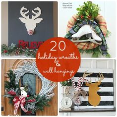 Great Ideas--20 Holiday Wreaths and Wall Hangings!! #DIY #Wreaths #Christmas --
