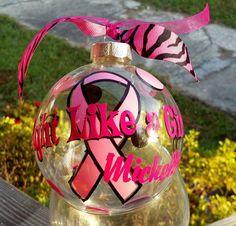 Breast Cancer Ribbon Christmas Ornament