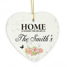 Personalised Shabby Chic Ceramic Heart Decoration