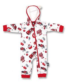 Other Baby and Toddler Clothing 1070: Six Bunnies Baby Hooded Romper Onesie Playsuit Hot Rod Cherries Rockabilly 12M -> BUY IT NOW ONLY: $34.99 on eBay!