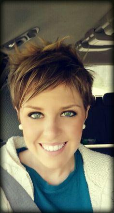 Thin fine hair pixie cut. #SalonRoot86 Ridgedale, MO 417-335-7886